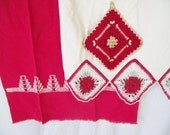 Vintage Crochet Pillowcase  Potholder Huck Towel - Red and White - Linens Collection