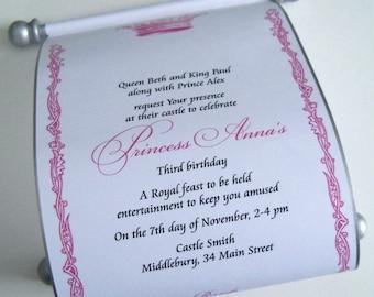Cinderella princess birthday party invitation scroll, set of 10