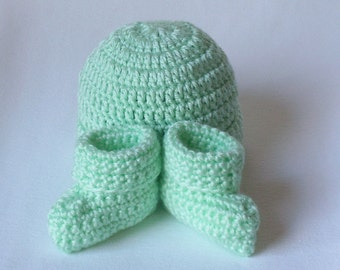 OBE Crocheted Newborn  Beanie Hat and Booties Set Soft Green Color