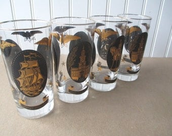 Vintage Black Gold History Tumblers Set of Four - Retro
