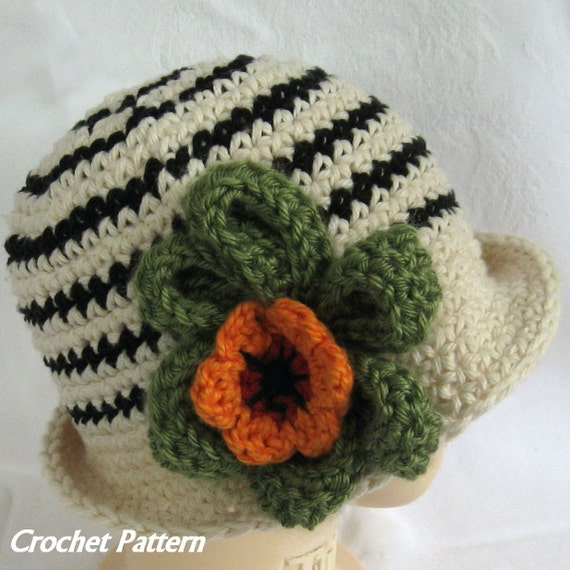 Baby Girls Crochet Hat Pattern Striped with Large Flower Trim