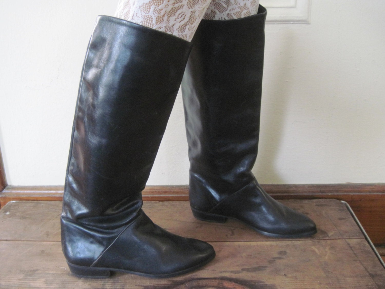 sz 6 vintage 1980s black pirate boots leather eighties