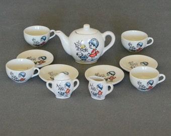 Vintage Child Size Toy China Tea Set - Service for 4 - 13 Piece Set -  Made in Japan - Miniature Tea Set