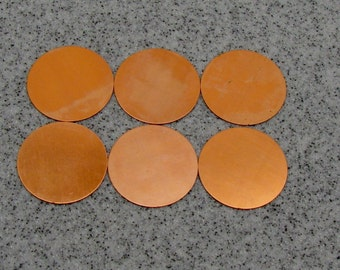 "1-1/2"" Copper Disc 24 Gauge  Pack of 6"