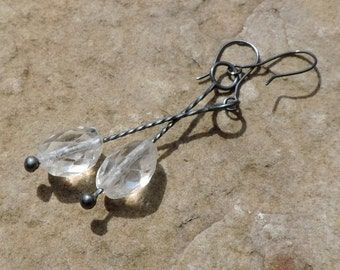 Faceted quartz crystal and oxydized sterling dangling Venetian stick earrings