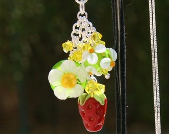 Strawberry Garden SRA Lampwork DeSIGNeR Necklace Pendant Strawberries Shortcake Fruit Spring Summer Dessert