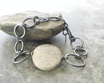 rustic silver bracelet, metalwork, oxidized silver jewelry, fossilized coral stone bracelet, organic jewelry, silver jewelry