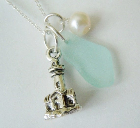 lighthouse charm seaglass necklace sea glass by