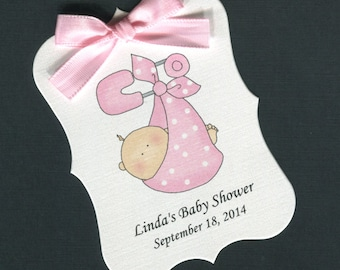 Personalized Baby Shower Favor Tags, baby girl bunting, set of 25