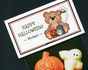 Personalized Halloween Party Favor Bag Topper Label With Teddy Bear With Pumpkin and Ghost, Set of 25