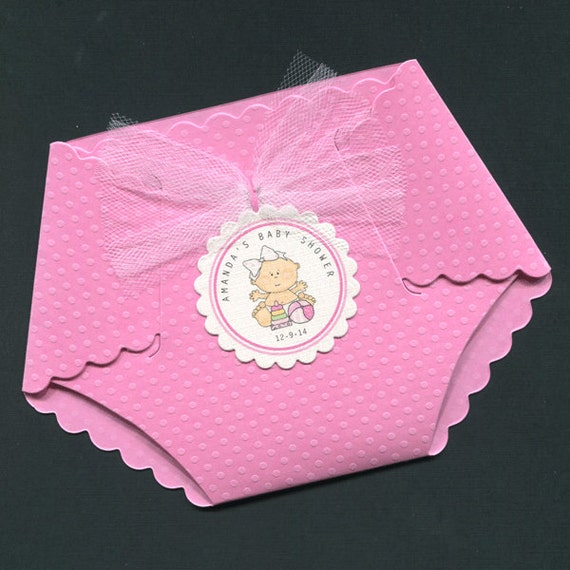 personalized baby girl baby shower invitations pink dotted diaper