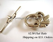 3 Flower Toggle Clasps Antique Silver 24x19mm Tibetan Silver NF - 3 sets - F4165TC-AS3
