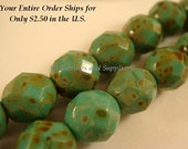 25 Opaque Turquoise Picasso Czech Beads Fire Polished Faceted Round Glass 8mm - 25 pc - G6049-OTP25
