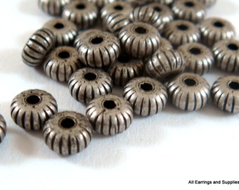 25 Antique Silver Corrugated Ribbed Donut Rondelle Bead 4.5x2.5mm Plated Brass - 25 pc - 6259-8