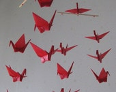 """SALE 30% OFF - 14 Small Cranes Mobile - Akane (vibrant red), small 14 cranes folded from 3"""" (7.5 cm) Solid, Home Decor, Nursery Mobile"""