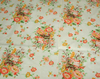 vintage 70s fabric, featuring pretty garden and painting print, 1 yard, 3 available priced PER YARD