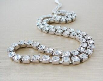 Vintage .. Clear Necklace, Czech Rhinestone, Statement, Wedding Bridal