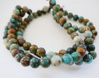 Bead, Turquoise Gemstone, 6mm Round Turquoise 8 inch strand jewelry supplies beading supply