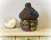 Acorn Cap Faerie Hut Brown with Butterfly 1:12 Miniature OOAK Sculpt for Fantasy Greenhouse or Garden Decor