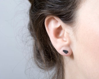 Oxidized Silver Stud Earrings, Black Stud Earrings, Geometric Stud Earrings, Black Nugget Post Earrings, OOAK