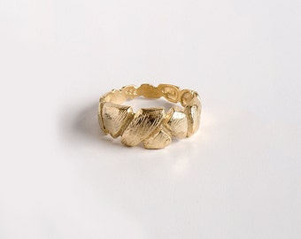 SALE 50% OFF, Gold Faceted Ring, Textured Gold Ring, Rustic Gold Ring, Organic Gold Ring, Gold Band Ring, size 7.5 9 11