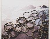 14 mm brass links hoops connectors  - 50 pieces - destash