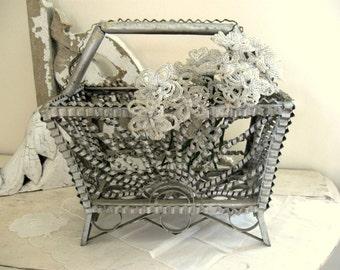 Vintage Tin Can Art Basket Silver Gray Metal Tramp Art Tote Sculpture