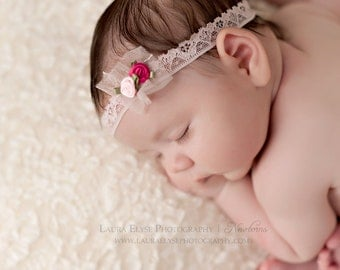 Nora - Pink Hot Pink Flower Lace Tulle Halo Headband - Baby Infant Newborn Girls Adults - Photo Prop - Wedding Baptism Flower Girl