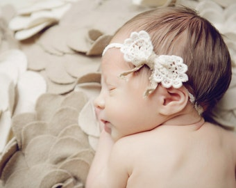Esther - Creamy Lace Bow Headband - Taupe Lace - Baby Infant Newborn Girls Adults - Photo Prop