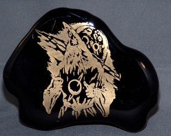 Glass Etched Cosmic Wizard Iceberg Paperweight
