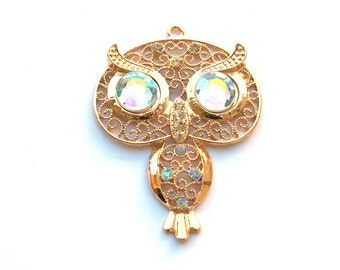 Gold Metal Filigree Style 50mm x 65mm OWL Pendant with Crystals, 1021-17