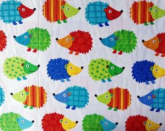 3884 - Colorful Hedgehog Cotton Fabric - 43 Inch (Width) x 1/2 Yard (Length)