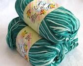 Creme de la Creme Cotton Yarn, JADE TONES, aqua jade green with cream