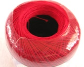 VICTORY RED crochet cotton thread,  Aunt Lydias Classic Crochet Cotton, size 10, bright red thread