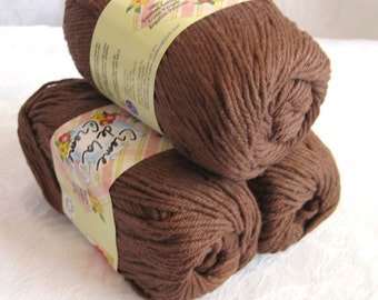Chocolate FUDGE BROWN cotton yarn, Creme de la Creme Cotton Yarn, worsted weight, 100%  cotton