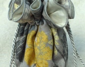Grey and Yellow Jewelry Bag, Jewelry Travel Bag Organizer in Grey and Yellow Floral