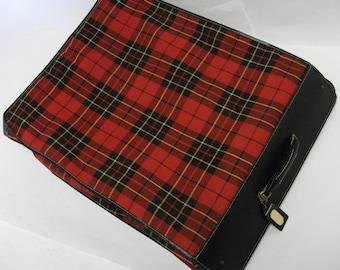 50s Vintage Red Tartan Plaid Luggage Garment  Bag