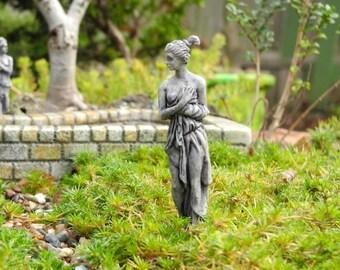 Miniature Garden Art, Fairy Garden Classical Bather, Faux Concrete, Staked
