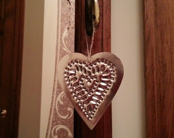 Primitive Heart Tin Punch Ornament By Larry West