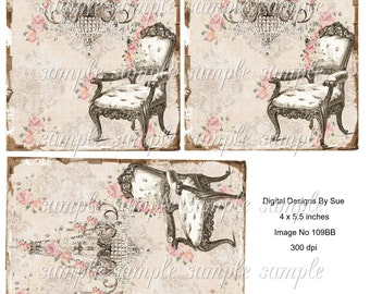 "Instant Download - Image No. 109BB - 4"" x 5.5"" -  Printable Digital Collage Sheet - Digital Download"