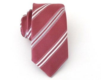 Mens Ties Necktie Antique Pink Silver Ivory Stripes Skinny Tie