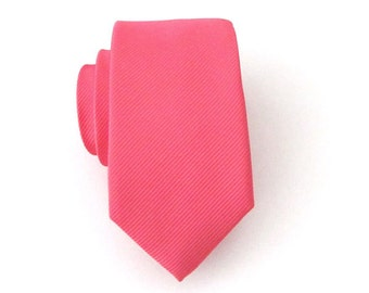 Skinny Tie - Coral Tone on Tone Striped Skinny Necktie With Matching Pocket Square Option