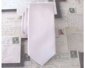 Pearl Blush Pink Mens Tie. Pink Champagne Pearl Pink Skinny Tie With Matching Pocket Square Option