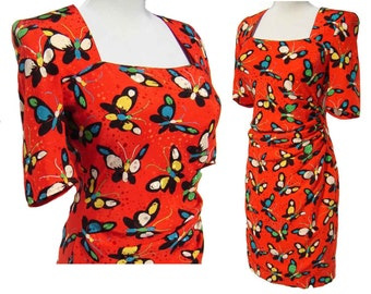 Vintage 80s Ungaro Dress Red Silk Cocktail Butterfly Print M