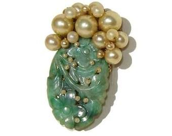 Vintage 30s Jade Brooch Carved Jadeite & Pearls Art Deco Pin