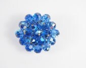 Blue Aurora Borealis Glass Bead Brooch Vintage 50s 60s Jewelry