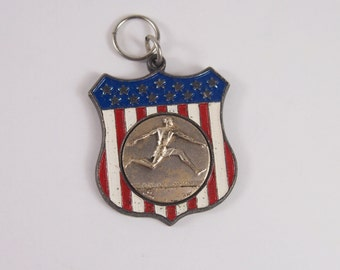 Track Sports Pendant Medal Vintage 60s 70s Jewelry
