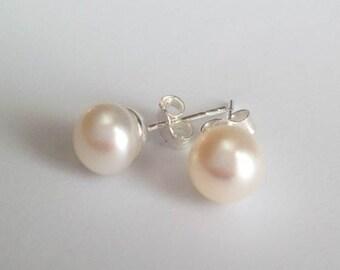 Genuine pearl studs, stud pearl earrings for women, flower girl, bridesmaid, great gift