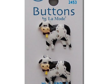 Two La Mode 3D Black and White Holstein Cow Sewing Buttons