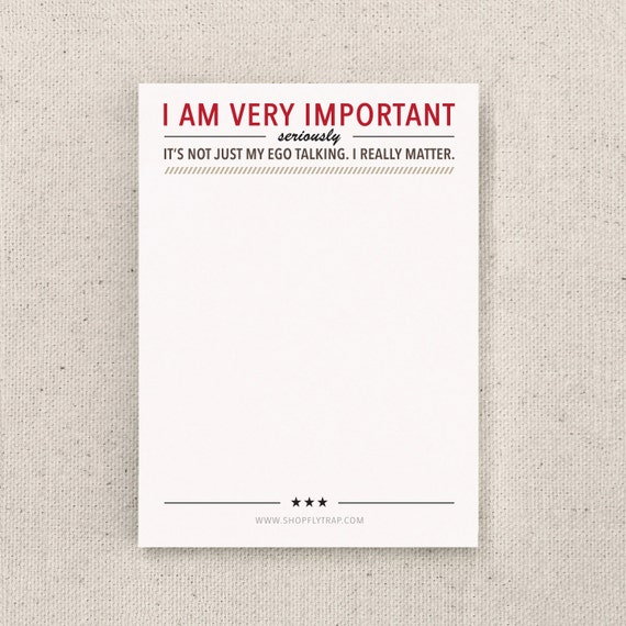 "Funny Christmas Stocking Stuffer or Small Gift. To Do Sticky Notes. Sarcastic. Friend, Man, Woman. Notepad. Under 5. ""Important"" (NSN-X007)"